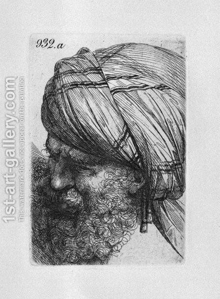 Head of old man with turban by Giovanni Battista Piranesi - Reproduction Oil Painting