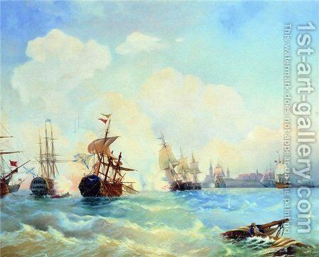 Revel fight May 2, 1790 by Aleksei Petrovich Bogolyubov - Reproduction Oil Painting
