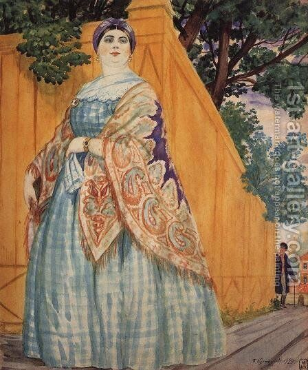 Merchant's wife on the promenade 2 by Boris Kustodiev - Reproduction Oil Painting