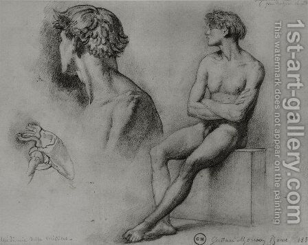 Male nude and other studies by Gustave Moreau - Reproduction Oil Painting