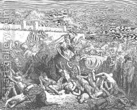 David Attacks the Ammonites by Gustave Dore - Reproduction Oil Painting
