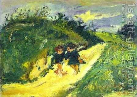 Two Children on a Road 2 by Chaim Soutine - Reproduction Oil Painting