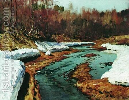 Springtime. The Last Snow. 2 by Isaak Ilyich Levitan - Reproduction Oil Painting