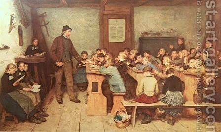 Die Dorfschule von 1848 by Albert Anker - Reproduction Oil Painting