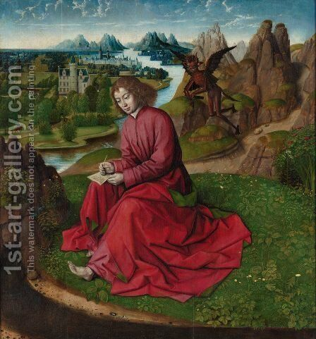 Saint John the Evangelist on Patmos by Dieric the Elder Bouts - Reproduction Oil Painting