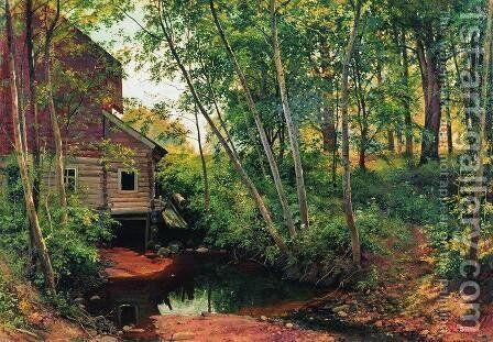 Mill in the forest. Preobrazhenskoe by Ivan Shishkin - Reproduction Oil Painting