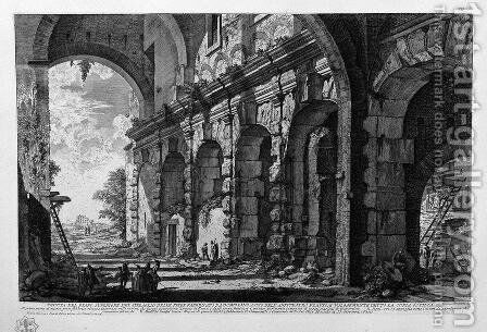 View of the upper floor of the menagerie of wild beasts made by Domitian for the use of the Flavian Amphitheatre, commonly known as the Curia and Ostilia by Giovanni Battista Piranesi - Reproduction Oil Painting