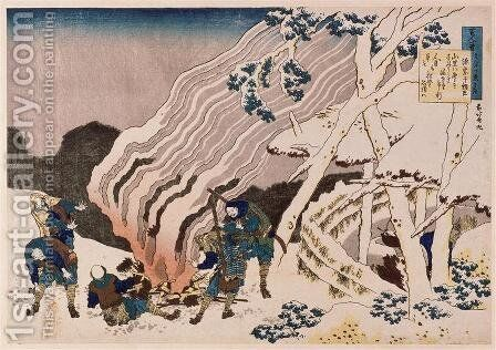 The fire fighters in the mountains by Katsushika Hokusai - Reproduction Oil Painting