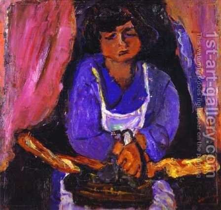 Servant Girl in Blue by Chaim Soutine - Reproduction Oil Painting