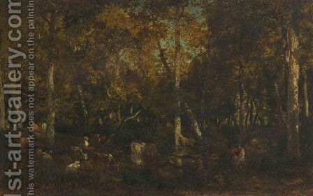 Inside the forest grove at Vieux Dormoir du Bas-Breau (Fontainebleau forest) by Theodore Rousseau - Reproduction Oil Painting