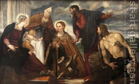 Virgin and Child with Saint Catherine, Saint Augustine, Saint Marc and Saint John the Baptist by Jacopo Tintoretto (Robusti) - Reproduction Oil Painting