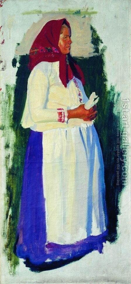 Etude of peasant for unpreserved picture From Church by Boris Kustodiev - Reproduction Oil Painting