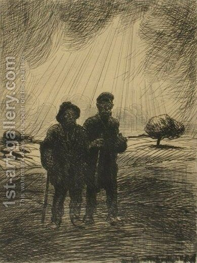 Les Deux Vagabonds by Theophile Alexandre Steinlen - Reproduction Oil Painting