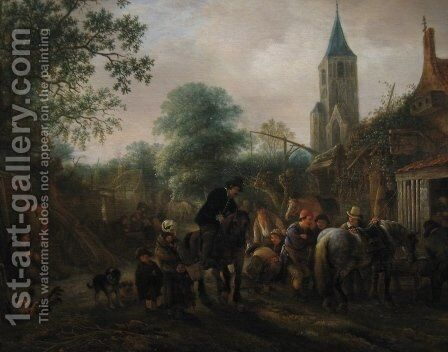 The Halt at the Inn by Isaack Jansz. van Ostade - Reproduction Oil Painting