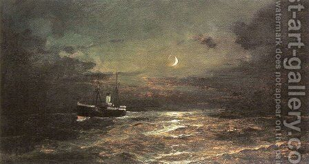 Boat at moonlight by Constantinos Volanakis - Reproduction Oil Painting