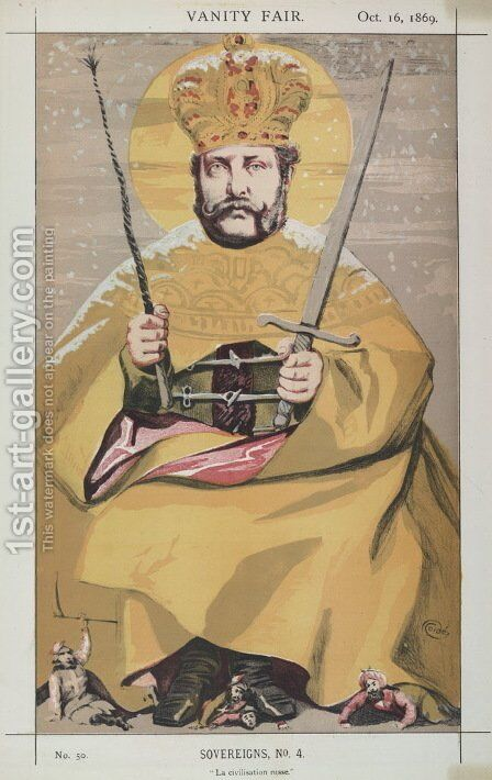 Sovereigns No.40 Caricature of Alexander II of Russia by James Jacques Joseph Tissot - Reproduction Oil Painting