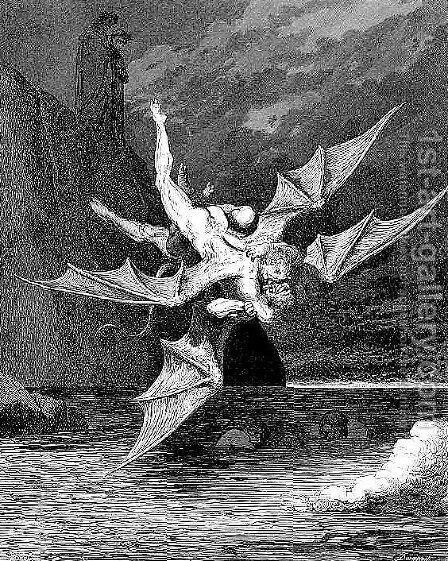 Alichino & Calcabrina by Gustave Dore - Reproduction Oil Painting