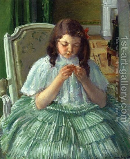 Francoise in Green, Sewing by Mary Cassatt - Reproduction Oil Painting