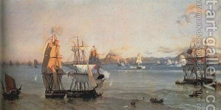 Sea Battle at the Bay of Patrae by Ioannis (Jean H.) Altamura - Reproduction Oil Painting