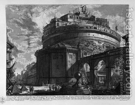 View of the Bridge and Castle St. Angel by Giovanni Battista Piranesi - Reproduction Oil Painting