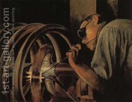 Helix Welder by Grant Wood - Reproduction Oil Painting