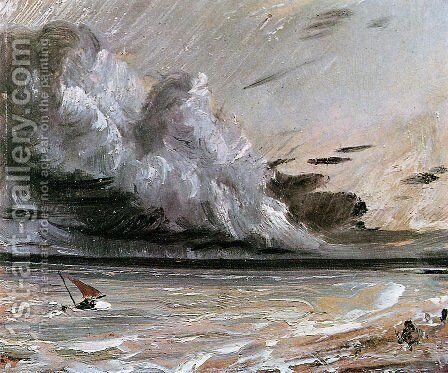 Coast scene with breaking cloud Sun by John Constable - Reproduction Oil Painting