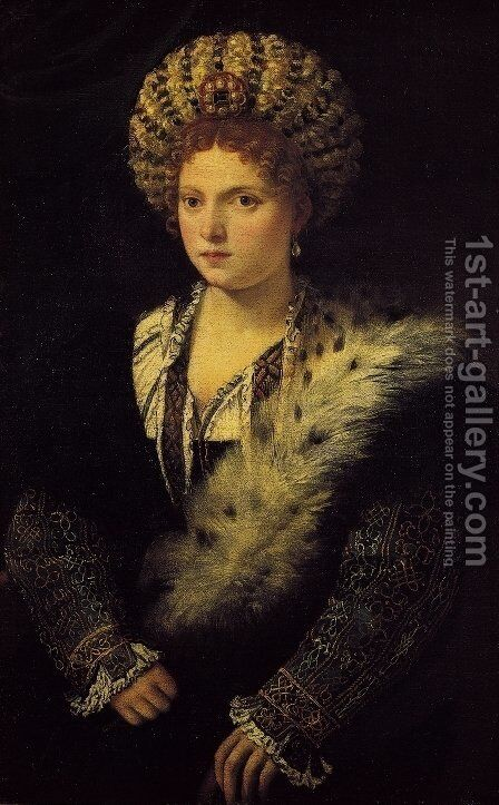 Portrait d'Isabella d'Este by Tiziano Vecellio (Titian) - Reproduction Oil Painting