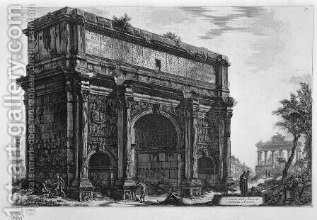 View of the Arch of Septimius Severus by Giovanni Battista Piranesi - Reproduction Oil Painting