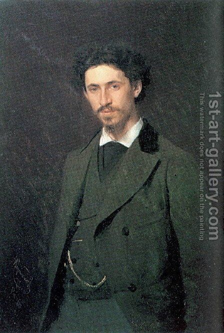 Portrait of the Artist Ilya Repin by Ivan Nikolaevich Kramskoy - Reproduction Oil Painting