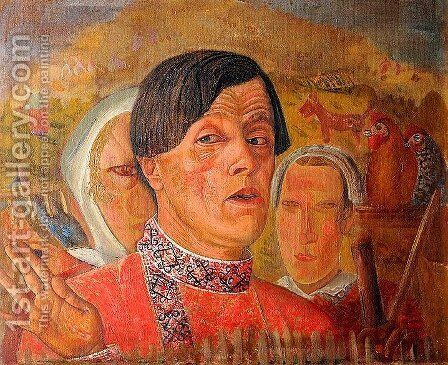 Self-Portrait with a Chicken and a Rooster by Boris Dmitrievich Grigoriev - Reproduction Oil Painting