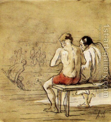 Bathers 2 by Honoré Daumier - Reproduction Oil Painting