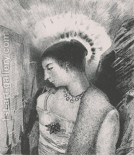 Here is the Good Goddess, the Idaean mother of the mountains (plate 15) by Odilon Redon - Reproduction Oil Painting