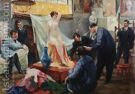 Statement of the model in the studio of Ilya Repin by Boris Kustodiev - Reproduction Oil Painting