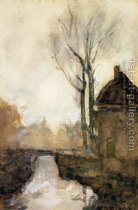House near canal by Jan Hendrik Weissenbruch - Reproduction Oil Painting