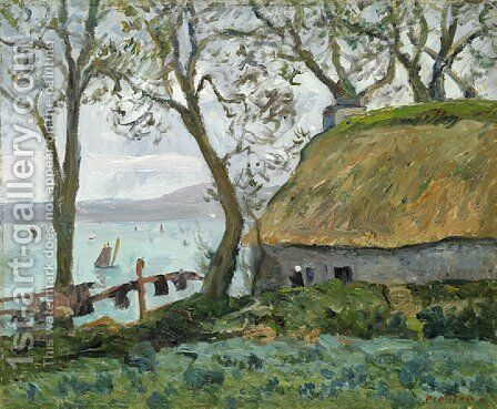 A cottage with thatched roof in Douarnenez by Maxime Maufra - Reproduction Oil Painting
