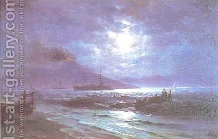 The Bay of Naples by Moonlight 3 by Ivan Konstantinovich Aivazovsky - Reproduction Oil Painting