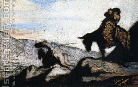 Don Quixote and Sancho Panza in the Mountains by Honoré Daumier - Reproduction Oil Painting