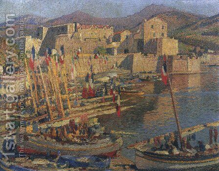 July 14 in Collioure by Henri Martin - Reproduction Oil Painting
