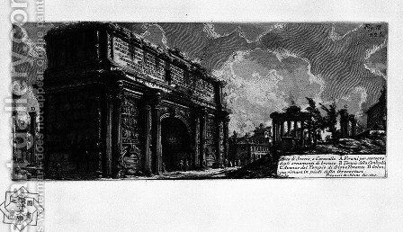 The Roman antiquities, t. 1, Plate XXXI. Arch of Septimius Severus. by Giovanni Battista Piranesi - Reproduction Oil Painting