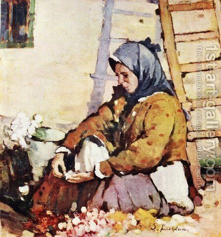 Flower Seller by Stefan Luchian - Reproduction Oil Painting