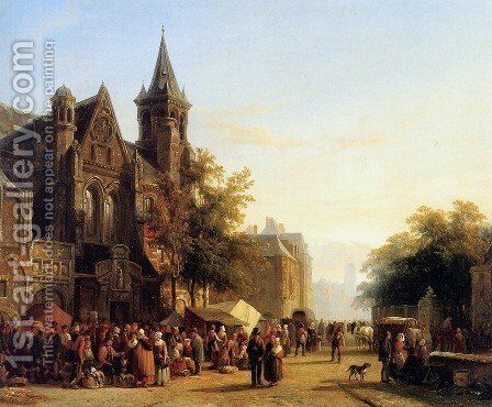 City view with figures by Cornelis Springer - Reproduction Oil Painting
