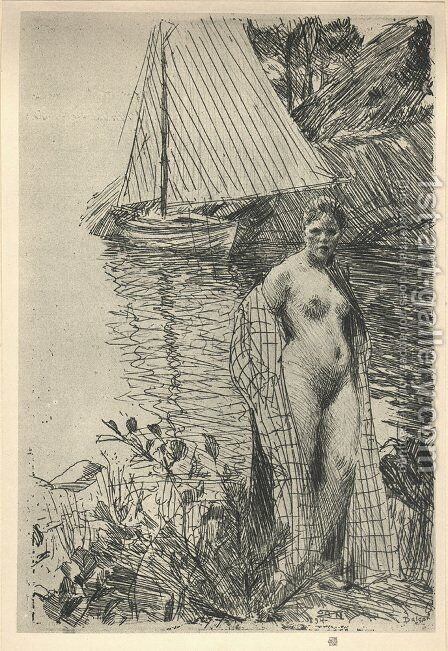 My Model and My Boat by Anders Zorn - Reproduction Oil Painting