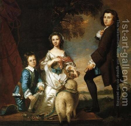 Thomas and Martha Neate, with Tutor by Sir Joshua Reynolds - Reproduction Oil Painting