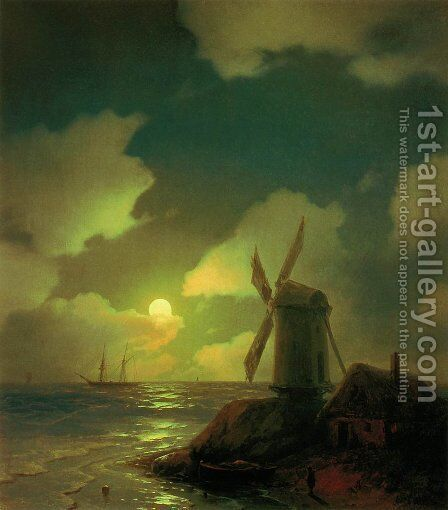 Windmill on the Sea Coast 2 by Ivan Konstantinovich Aivazovsky - Reproduction Oil Painting