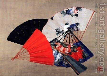 Five fans by Katsushika Hokusai - Reproduction Oil Painting
