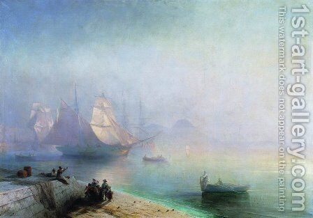 The Bay of Naples on misty morning by Ivan Konstantinovich Aivazovsky - Reproduction Oil Painting