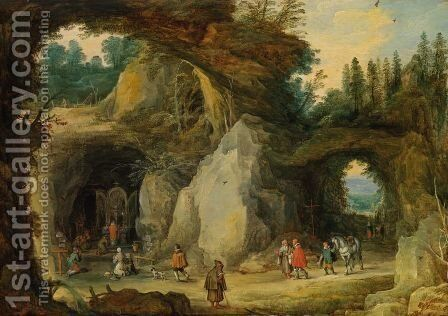 Mountain Landscape with Pilgrims in a Grotto Chapel, c. 1616. by Jan The Elder Brueghel - Reproduction Oil Painting