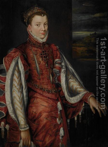 Portrait of Elisabeth of Valois (1545-1568), wife of King Philip II. Of Spain, 1560 by Anthonis Mor Van Dashorst - Reproduction Oil Painting