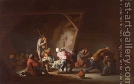 Barn dance in a barn, 1635 by Adriaen Jansz. Van Ostade - Reproduction Oil Painting