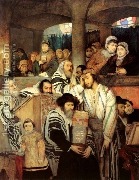 Jews Praying in the Synagogue on Yom Kippur by Maurycy Gottlieb - Reproduction Oil Painting